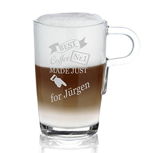 polar-effekt Leonardo Kaffeebecher mit Henkel Personalisiert mit Gravur - Latte-Macchiato Glas 365ml - Kaffee-Glas Geschenk-Idee zum Geburtstag - Motiv Made just for
