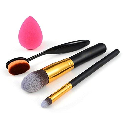 Ouneed® brosse/ 4pcs maquillage fondation nettoyant Brosse maquillage éponge de maquillage brosse