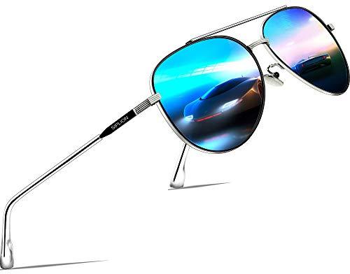 SIPLION Unisex Polarisiert Sonnenbrille Herren Damen Pilotenbrille Fahrerbrille Verspiegelt UV400 7077 Blue