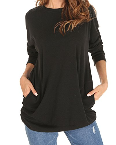 Langarm Sweatshirt Damen Rundhals Pullover Casual Loose Oberteile,einfarbig,Baumwolle,mit Taschen,schwarz,XL