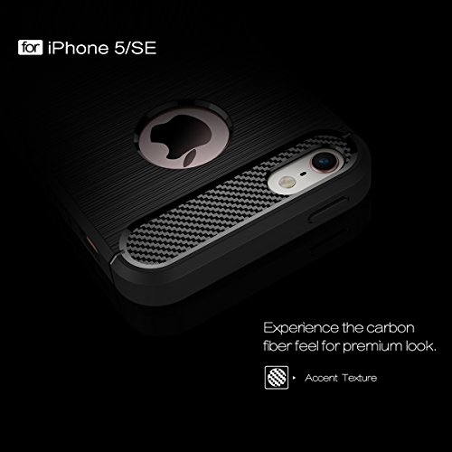 iPhone SE 5SE 5 5S Hülle Caseforyou® Carbon Fiber Pattern Ultra Slim Fit Soft TPU Back Case Cover Protector Shell, Navy Blue Black