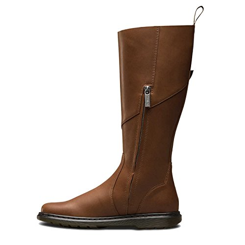 Dr.Martens Womens Caite Oily Illusion Knee High Leather Boots Marron
