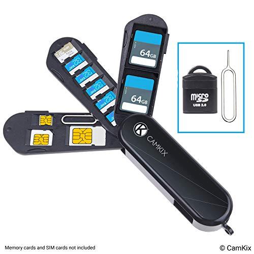 Aufbewahrungsgehäuse für Speicherkarten und SIM-Karten - Micro SD Kartenleser (USB) und Stift zum Auswerfen - Taschenmesser Design - Für 2X SD, 6X Micro SD, 1x Mini SIM, 1x Micro SIM und 1x Nano SIM - Ultra-sim-karte Für Iphone 6