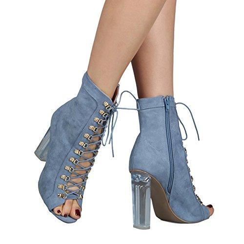 Damen Kurz Stiefeletten Peep Toe High-Heel Transparent Blockabsatz Schnürschuhe Blau
