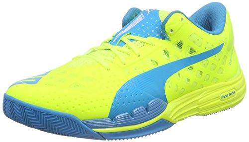 Puma Evospeed Indoor 1.4, Chaussures Multisport Indoor mixte adulte Jaune - Gelb (safety yellow-atomic blue-white 03)