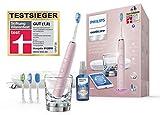 Philips Sonicare DiamondClean Smart Schallzahnbürste HX9924/23 mit 5 Putzprogrammen, 3 Intensitäten, Ladeglas, USB-Reiseetui & 4 Bürstenköpfen - schonendes Putzen dank Drucksensor - Pink