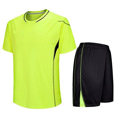 ZEVONDA Sommer Gemütlich Erwachsene Kinder Fußball Team Training Kit Männer Kurzarm Fußball Trainingsanzug (28 (Height:135-140), Grün) -
