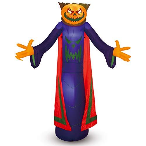 Joiedomi Halloween-Kürbis-Zauberer, aufblasbar, für Halloween, Hof, Dekoration, Outdoor, 2,4 m hoch