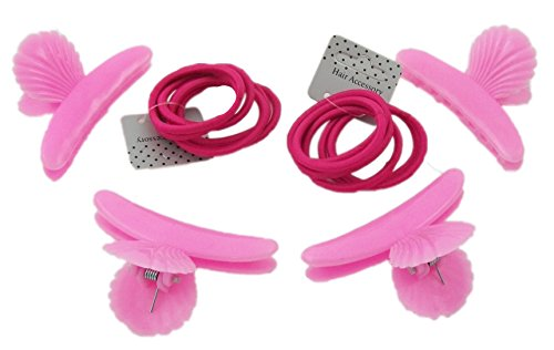 4Pinces de coiffure rose avec 12élastiques cheveux épais Rose