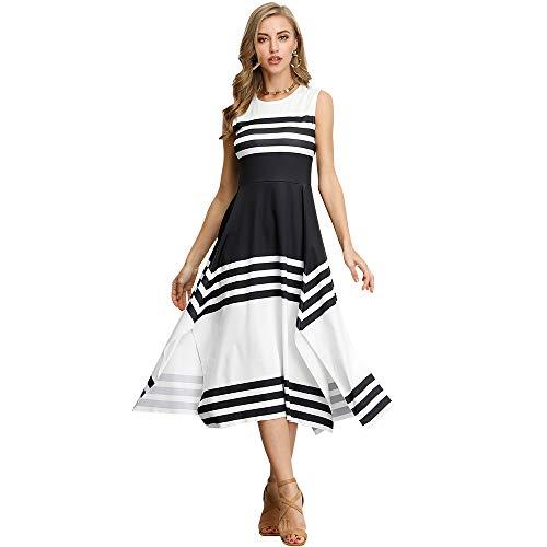 f524339d977 Floryday - Vestido de Verano sin Mangas, Estilo Informal, con diseño de  Rayas,