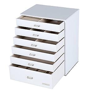 Seelux Schmuckkoffer Schmuckkasten Uhrenkoffer Kosmetikkoffer (6 Schubladen, Weiß)