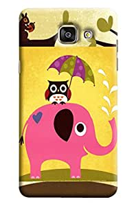 Blue Throat Elephant Carrying Owl On Back Printed Designer Back Cover/Case For Samsung Galaxy A7 2016