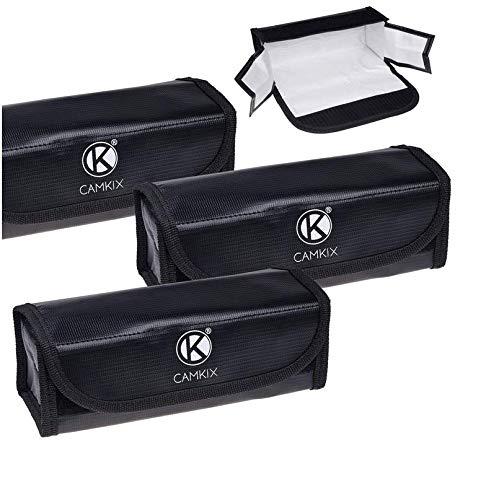 CAMKIX Große Feuerfeste LiPo-Akku-Taschen - 3-er Pack - Sicherheits- und Aufbewahrungstasche - Für sichere Ladung und Transport - 19.5 x 6.5 x 7.5 cm - Ideale Lösung für Flugzeug-Handgepäck -