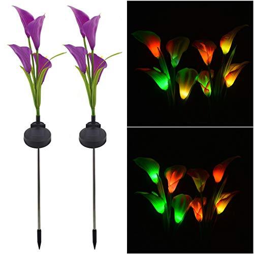 TianranRT Solar Garten Beleuchtung Multi-Color Calla Lilie Blume Licht Outdoor Dekoration 2tlg...
