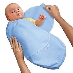 SwaddleMe 73674 - Baumwolle/blau/0-4 Monate/3,2-6,4kg - Schreibabys Ganzkoerper Pucksack Small