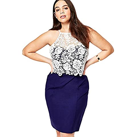MEINICE Plus Size Pencil Dress With Crochet Bodice XL