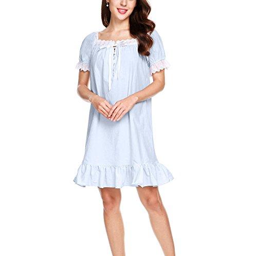 Keland Damen Nachthemd kurzarm Sleepshirt Schlafanzüge mit Lotusblatt Seite Hell Blau