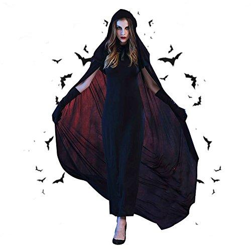 en Gothic Vampir Hexe Midnight Robe mit Kapuze (Frauen Anatomie Kostüm)