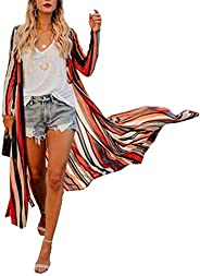 MayBuy Women's Rainbow Striped Kimono Cardigan Boho Style Open Front Cover Up Wrap