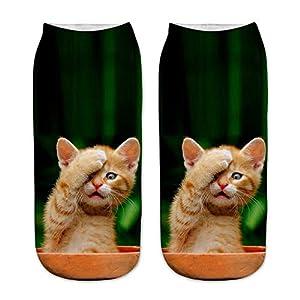 BaZhaHei Damen Mode Bequem Socken Winter Warm Neue Arbeit Business Socken 3D Cute Cat Printing Medium Sportsocken…