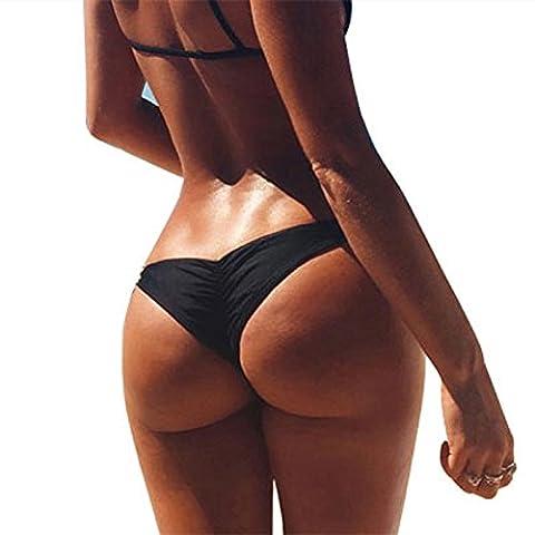 Imixcity Women Girl's Brazilian Cheeky Bikini Bottom Ruched Back Mini Itsy Swimwear Bathing Thong (UK 6 / Waist:27-29 Inch (M), Black)