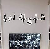 Música Notas de piano Electrocardiograma creativo Arte Tatuajes de Pared Para la Sala de estar Dormitorio Fondo de Decoración de La Pared 16X58 CM