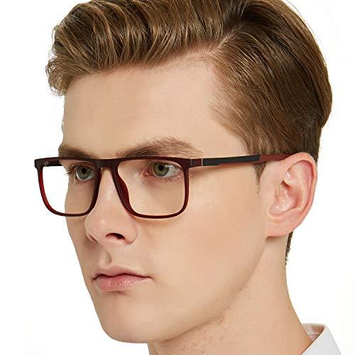OCCI CHIARI Optische Brillen Rahmen modisch flexibles Rechteck brille ohne sehstärke Dekoration Brillengestell mit Federscharnier Herren (Flexible Brillengestelle)