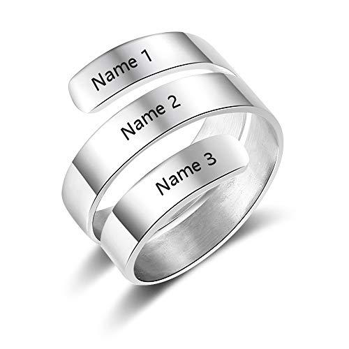 Lam hub fong anelli donna regolabili personalizzati 3 nome anello in acciaio inossidabile inciso con anelli di fidanzamento incisi semplici anelli per ragazze (argento)