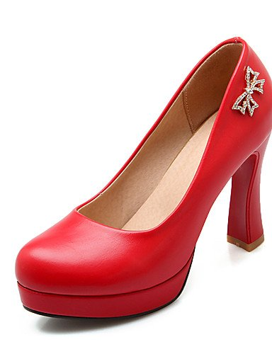 WSS 2016 Chaussures Femme-Bureau & Travail / Décontracté-Rose / Rouge / Blanc-Gros Talon-Talons / Bout Arrondi-Talons-Polyuréthane red-us6.5-7 / eu37 / uk4.5-5 / cn37