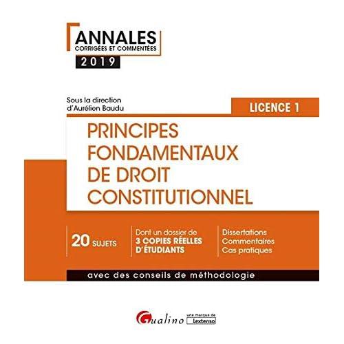 Principes fondamentaux de droit constitutionnel Licence 1 Semestre 1