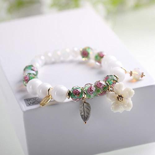 reifen Frauen Künstlichen Kristall Pfirsich Blume Perlen Blüte Blatt Anhänger Hand-Woven Böhmisches Einstellbar Retro Cute Persönlichkeit Simple Geschenk @ 04. ()