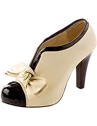 Minetom Mujer Vendimia Botines Otoño Invierno Botas Del Bowknot Zapatos De Las Bombas Tacón Alto Estiletes