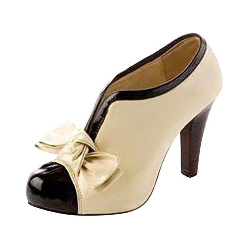 Minetom Mujer Vendimia Botines Otoño Invierno Botas Del Bowknot Zapatos De Las Bombas Tacón Alto Estiletes Beige EU 38
