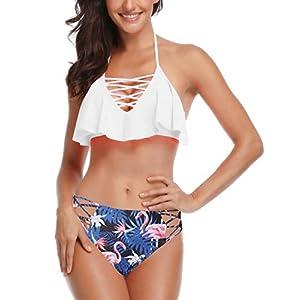 Abollria Sexy Donna Bikini Costume da Bagno Due Pezzi Tankini Push-up Imbottito per Estate Mare Spiaggia 3 spesavip