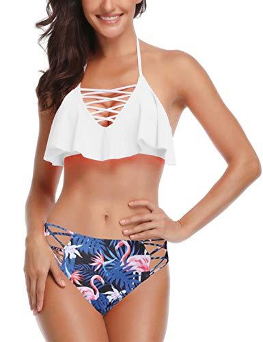 Abollria Bikini Set Damen Badeanzug Push up Bademode Halter Strandmode Bikinioberteil und Triangel Bikinihose Rüschen Hals Hängen Zweiteilige Strandkleidung -