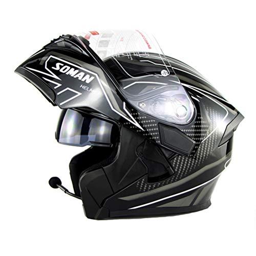 Motorradhelm Cross helm mit Bluetooth, Motorrad helm Cross Integralhelm Klapphelm Erwachsene DOT Helm, Downhill Fullface Sturzhelm hochklappen Vollgesichtshelm Roller Helm für Männer Frauen,WhiteA,XXL