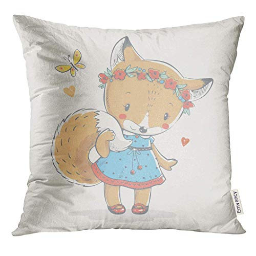 Throw Pillow Cover Yellow Girl Cute Little Red Fox in Blue Dress Cartoon  Baby Shower Celebration 4f0548cd2ca