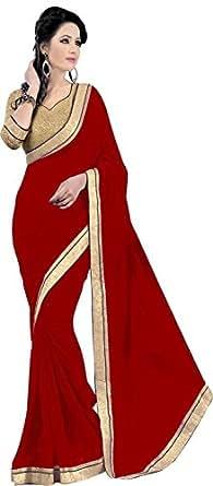 Shree Sanskruti Chiffon Lace Saree(Chiffon-Jaiho-Red_Red)