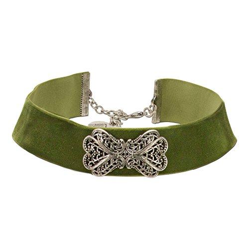 Alpenflüstern Trachten-Samt-Kropfband Ornament-Schleife - nostalgische Trachtenkette enganliegend, Kropfkette elastisch, eleganter Damen-Trachtenschmuck, Samtkropfband breit grün DHK207