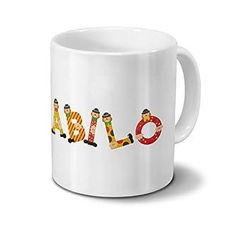 Tasse mit Namen Abilo - Motiv Holzbuchstaben - Namenstasse, Kaffeebecher, Mug, Becher, Kaffeetasse - Farbe Weiß