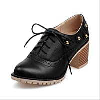 CHZDYZX Italian Style Casual Women Shoes Thick High Heels Shoes Sweet Flower Lace-up Heels Woman Carved Brogue Shoes Ladies 6 black