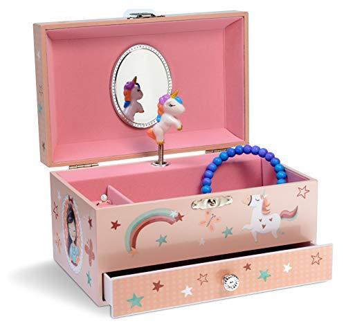 Jewelkeeper - Musikalische Schmuckschatulle für Mädchen mit ausziehbarer Schublade, Regenbogen Einhorn Design - The Unicorn Melodie