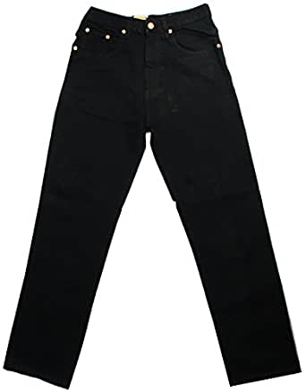 MENS AZTEC HEAVY DUTY REGULAR FIT 100% COTTON 5 POCKET JEAN WITH ZIP FLY COLOUR BLACK Waist 30'' Short (29'')