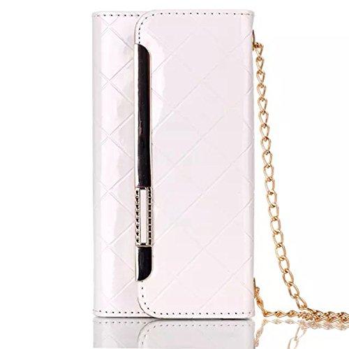 iPhone Case Cover hohe qulity metall dekor magnetische pu lederetui für multifunktionale fall für das iphone 6 65 ( Color : Black , Size : IPhone 6 6s ) White