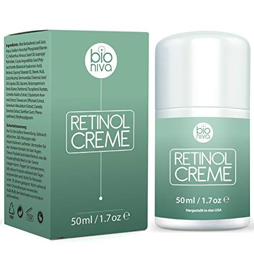 Bionura Retinol Feuchtigkeitscreme Creme mit 2,5% Retinol, 15% Vitamin C & 5% Hyaluronsäure – Der effektivste Natürliche Anti Aging & Anti Falten Retinol Feuchtigkeitsbehandlung ohne die irritierenden Nebenwirkungen. 50 ml - 3