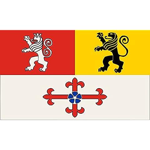 magFlags Bandera Large Kreis Heinsberg   Beschreibung der Flagge Dem Kreiswappen entsprechend geteilt und oben gespalten; die Wappenfiguren freischwebend