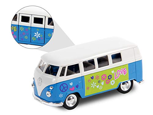 VW Bulli Hippie Flower Power Bus 12 cm Modellauto 1963 Volkswagen 1:34 T1 Modell Bully (56/0044 VW Bus Flower blau)