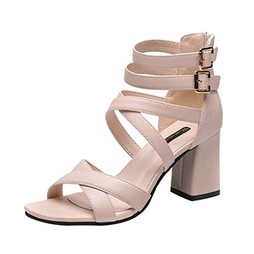 Frauen Sommer Pumps,Dorical Damen Reißverschluss Abend Sandaletten High Heels Pumps Velours Peep Toes Party Schuhe Blockabsatz Größe 35-39 Reduziert(Beige,38 EU)