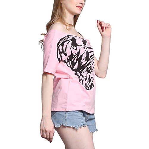 Mangotree Sommer Oberteile Kurzarm Drucken T-Shirt Lose Hemd Tops Damen Schulterfreies Bluse mit Verstellbare Träger Rosa
