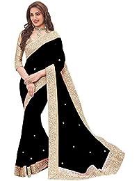 Fabulous Trendz Women's Chiffon Saree With Blouse Piece (Priya Black_Black)